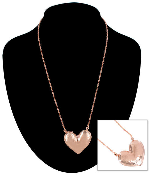 Ky & Co Rose Gold Tone Large Hammered Texture Heart Pendant Rope Chain Necklace