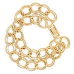 "Ladies Bracelet 7"" Two Row Double Cable Link Chain Gold Tone Thumbnail 2"