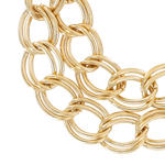 "Ladies Bracelet 7"" Two Row Double Cable Link Chain Gold Tone Thumbnail 3"