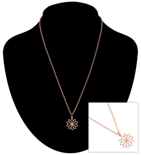 Ky & Co Pendant Necklace Daisy Flower Symbol Rose Gold Tone Charm USA Made