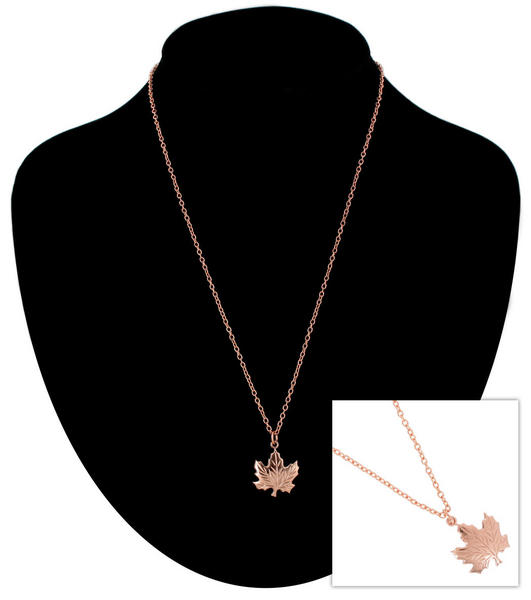 Ky & Co Pendant Necklace Canadian Maple Leaf Symbol Rose Gold Tone Charm USA