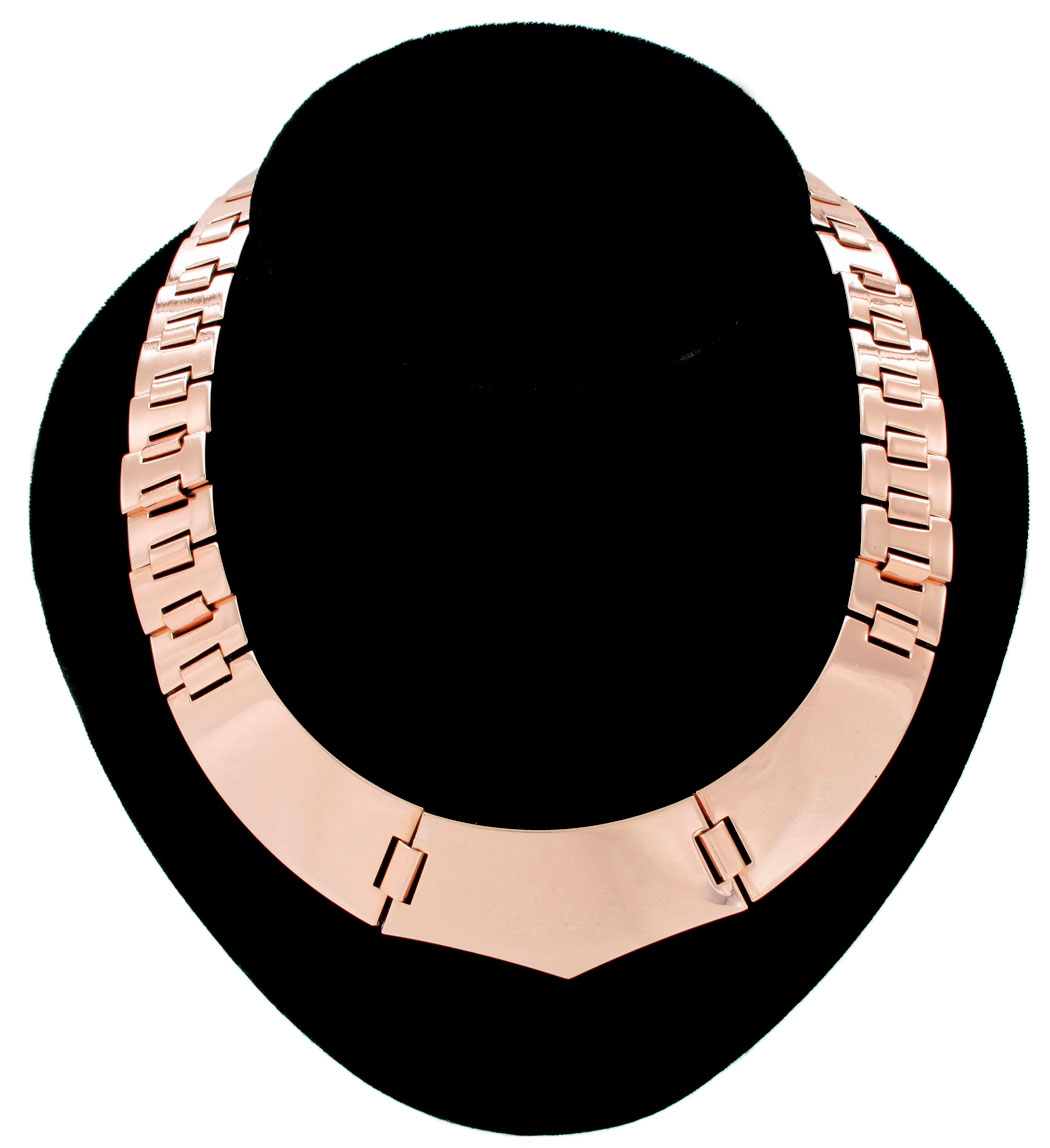 Ky & Co Rose Gold Tone Metallic Statement Collar Necklace Bookchain Link USA Made