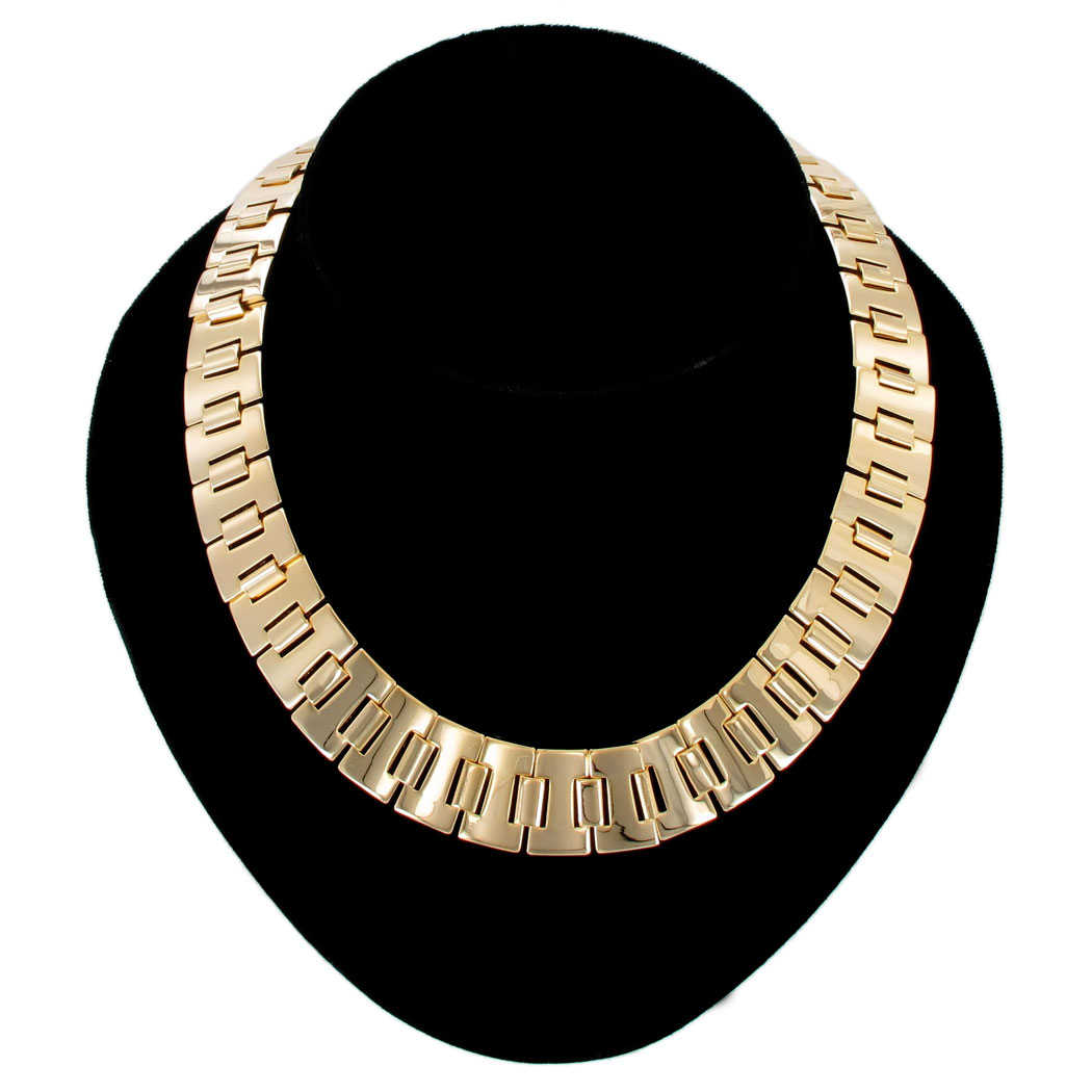 Ky & Co Gold Tone Metallic Collar Necklace Bookchain Link USA Made