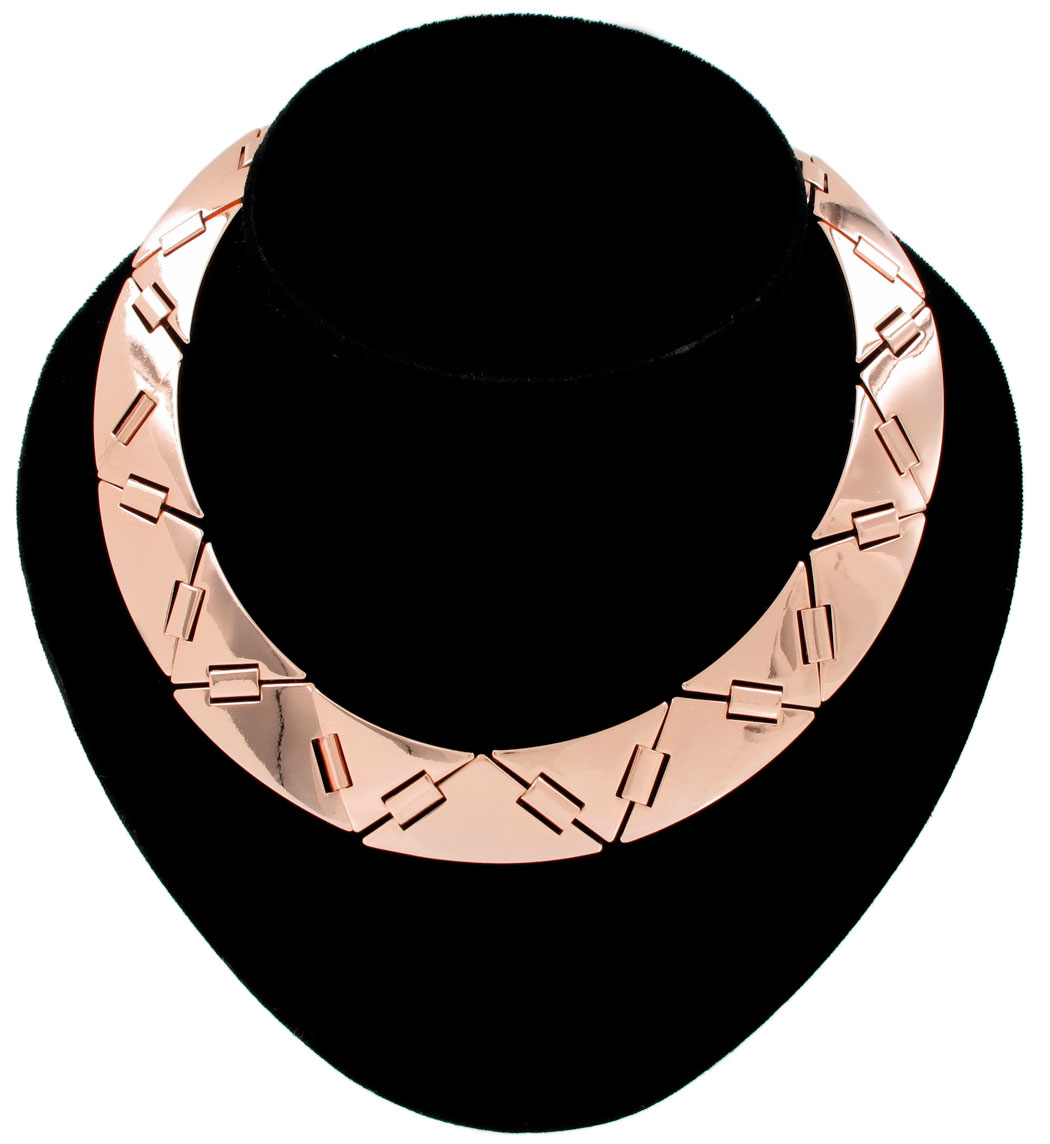 Ky & Co Collar Statement Necklace Rose Gold Tone Triangle Link Made In USA
