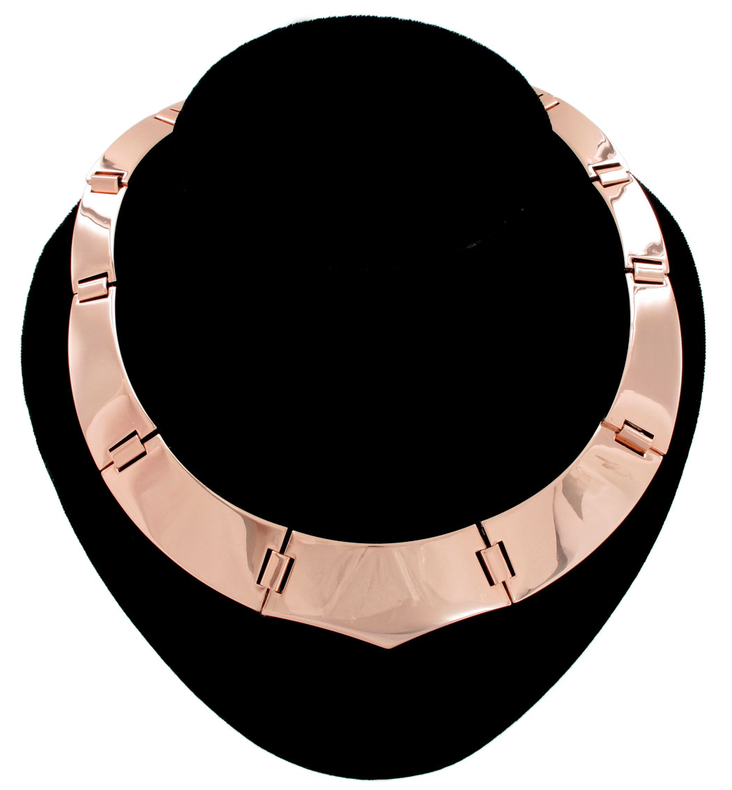 Ky & Co Collar Statement Necklace Rose Gold Tone Plaque Link Made In USA