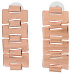 Ky & Co Rose Gold Tone Bookchain Link Pierced Earrings USA Made 2""