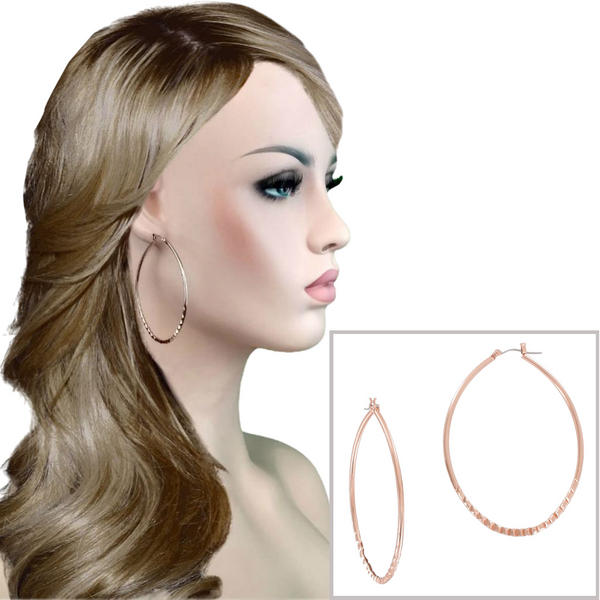 "Ky & Co Large 2 3/4"" Teardrop Earrings Hoop Oversized Ribbed Detail Made Rose Gold Tone"