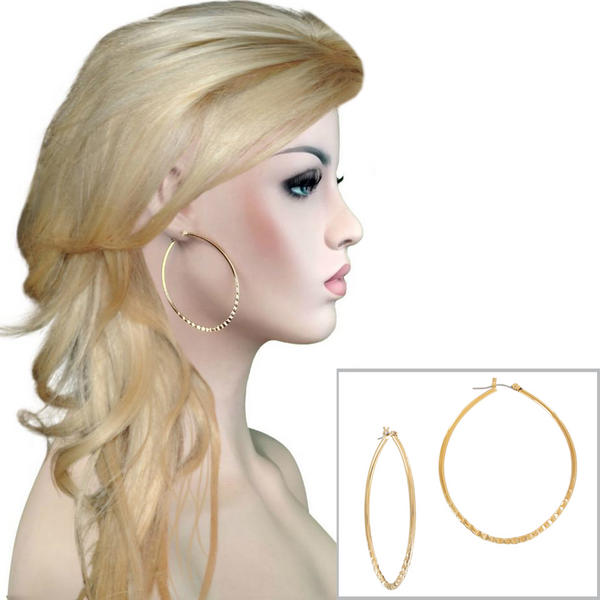"Ky & Co Large 2 3/4"" Teardrop Hoop Ribbed Detail Gold Tone Oversized Earrings Made in USA"