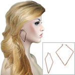 "Ky & Co Large 2 3/4"" Triangle Hoop Oversized Earrings Made USA Rose Gold Tone"