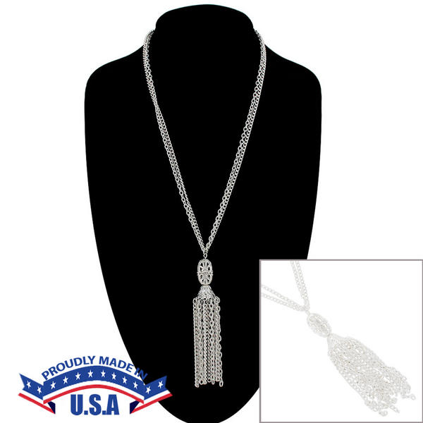 KY & Co USA Made Silver Tone Filigree Tassel Chain Necklace