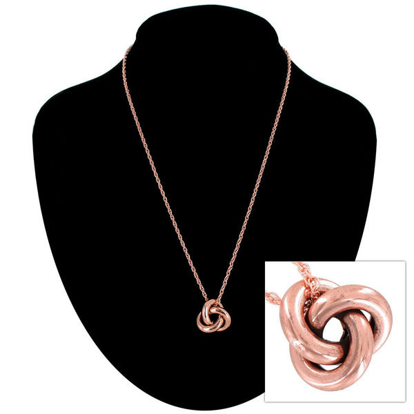 "Ky & Co Rose Gold Tone Necklace Knot Pendant Charm USA 18"" Rope Chain"