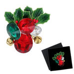 Holiday Christmas Jeweled Jingle Bell Holly Brooch