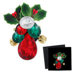 Holiday Jeweled Jingle Bell Holly Christmas Brooch Green Red Clear