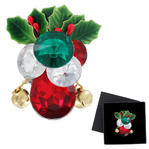 Holiday Jeweled Jingle Bell Holly Christmas Brooch Clear Red Green