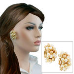 Clip On Earrings Vintage Large White Faux Pearl Gold Tone Beaded Hoop Huggie