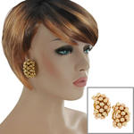 Clip On Earrings Vintage Large Gold Tone Beaded Hoop Huggie