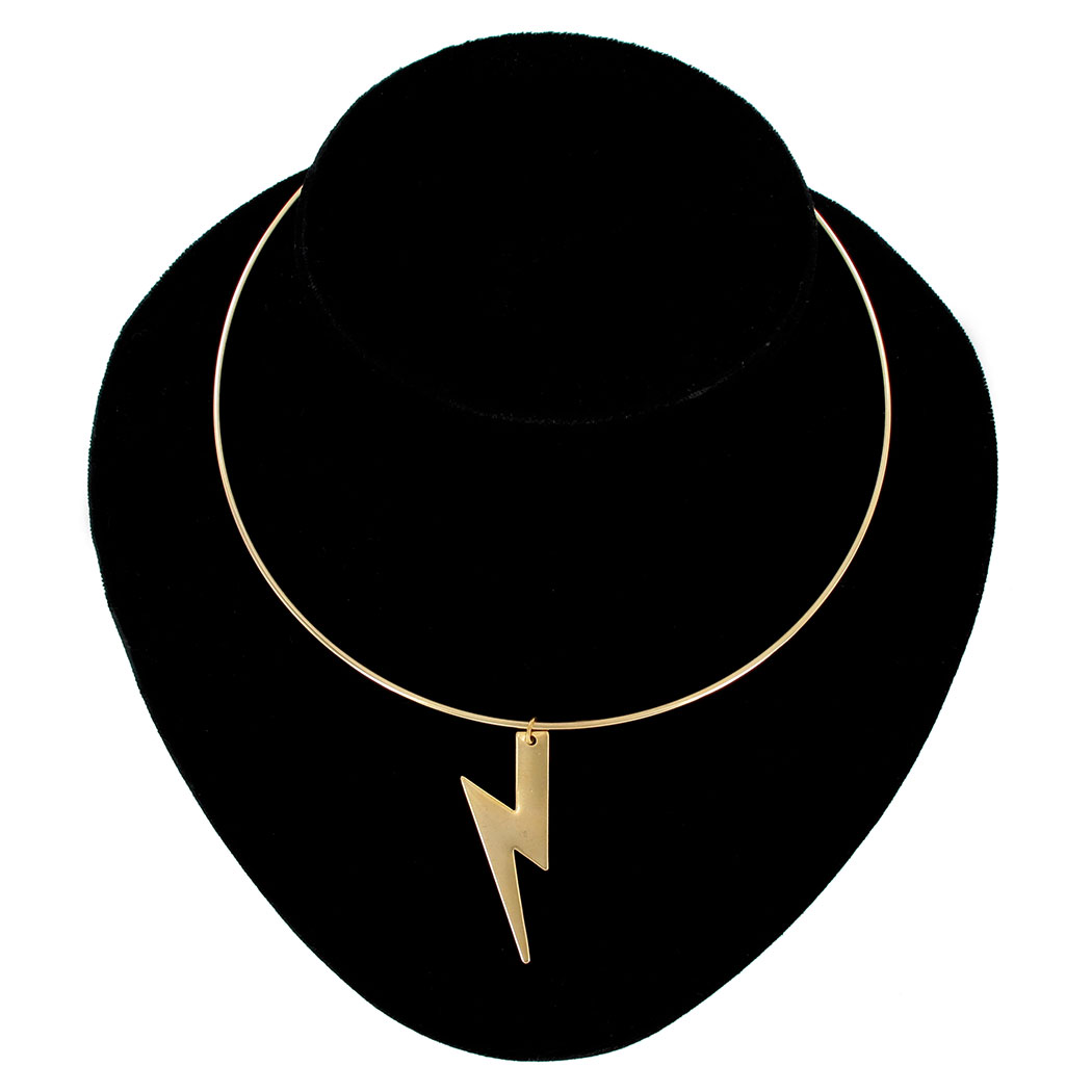 Ky & Co Lightning Bolt Pendant Gold Tone Bangle Collar Necklace USA Made 15""