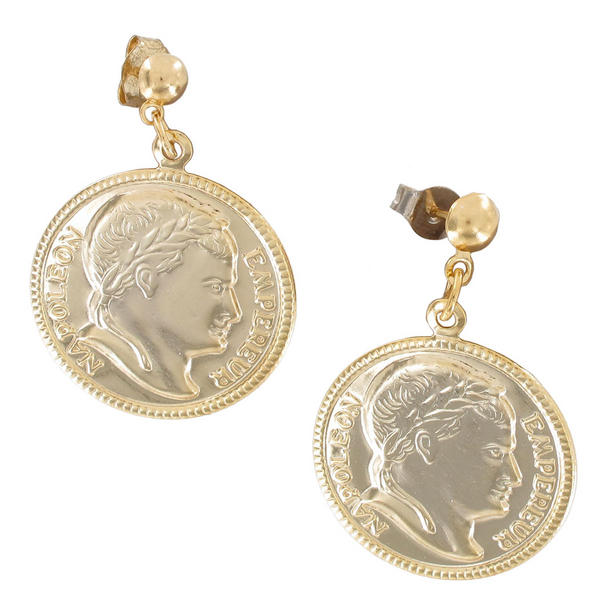 Pierced Earrings Gold Tone Faux Napoleon Coin Dangle Lightweight Made USA 1 1/4""