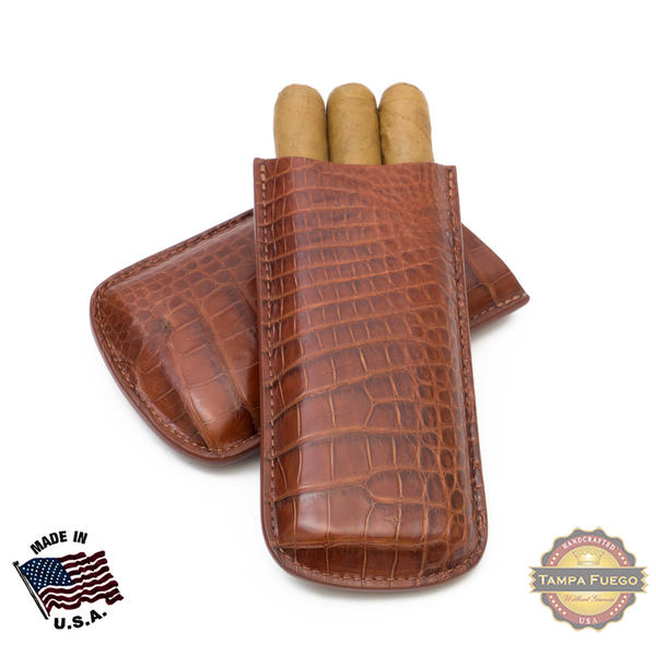 Tampa Fuego Cigar Case Genuine Alligator Leather Cognac Father's Day