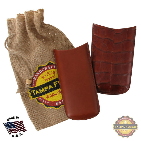 Tampa Fuego Cognac Cigar Case Exotic Alligator 1/2 Leather Father's Day