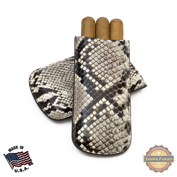 Tampa Fuego Natural Cigar Case Genuine Python Father's Day