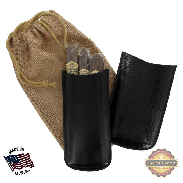 Tampa Fuego Black Cigar Case Exotic Lizard 2 Sides Leather Father's Day