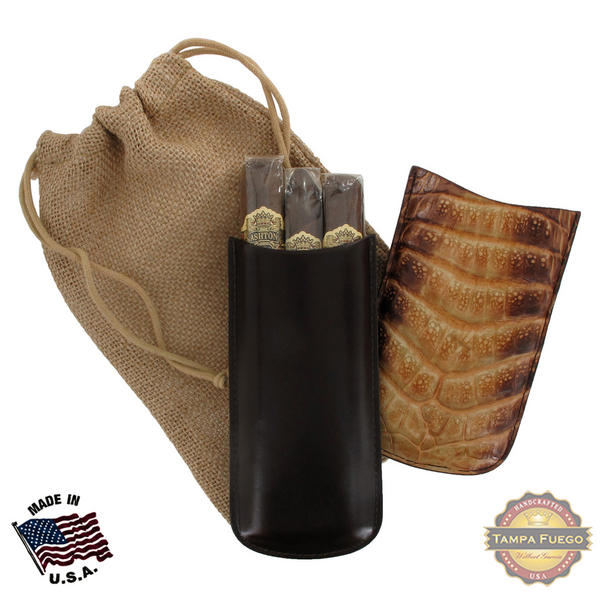 Tampa Fuego Natural Cigar Case Exotic Crocodile 2 Sides Leather Father's Day