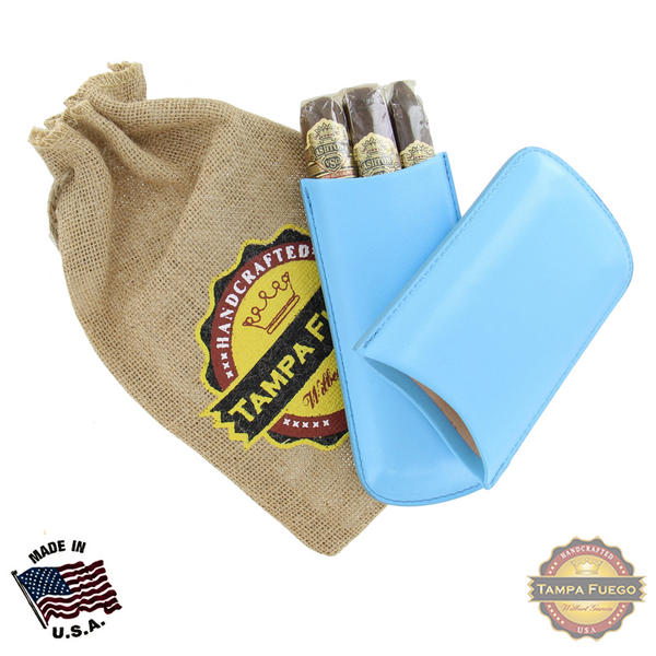 Tampa Fuego Cigar Case Genuine Leather Pale Blue Lined Standard Father's Day