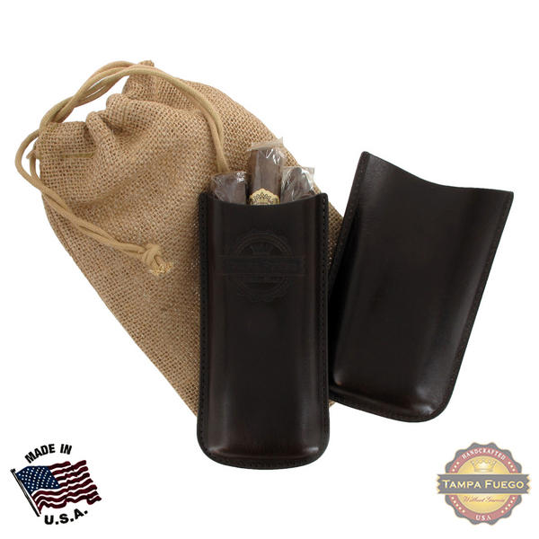 Tampa Fuego Cigar Case Genuine Leather Brown Unlined Father's Day