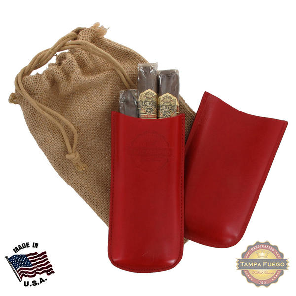 Tampa Fuego Cigar Case Genuine Leather Red Unlined Father's Day