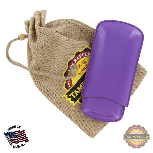 Tampa Fuego Cigar Case Genuine Leather Purple Unlined Father's Day