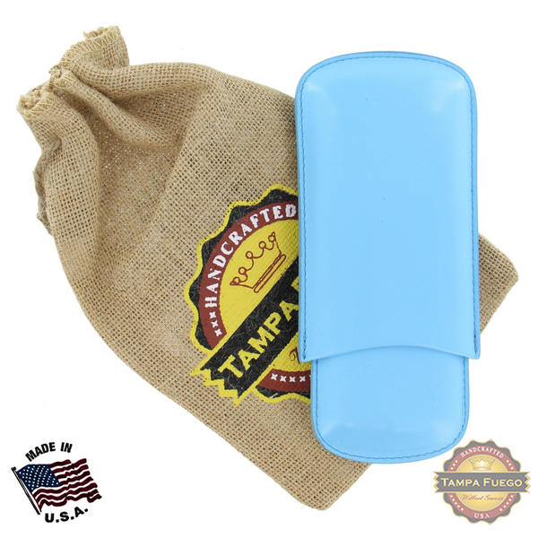 Tampa Fuego Cigar Case Genuine Leather Pale Blue Unlined Father's Day