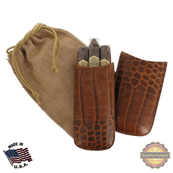 Tampa Fuego Cigar Case Crocodile Grain Leather Cognac Standard Father's Day