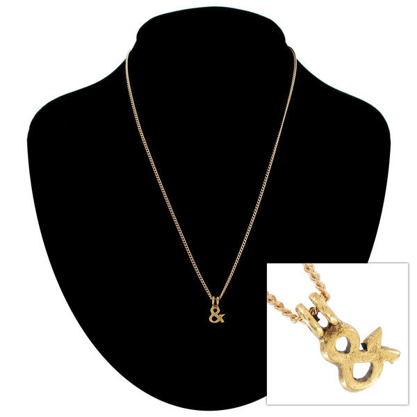 "Ky & Co Gold Tone Ampersand Symbol Small Pendant Charm 18"" Curb Chain Necklace"