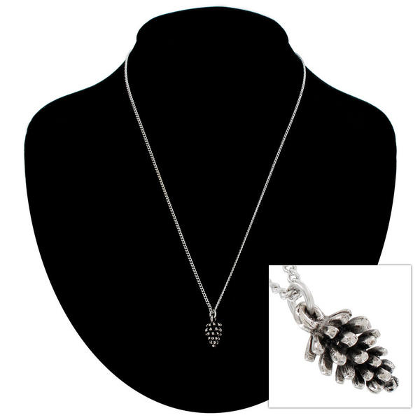 "Ky & Co Silver Tone Pine Cone Nature Small Pendant Charm 18"" Curb Chain Necklace"