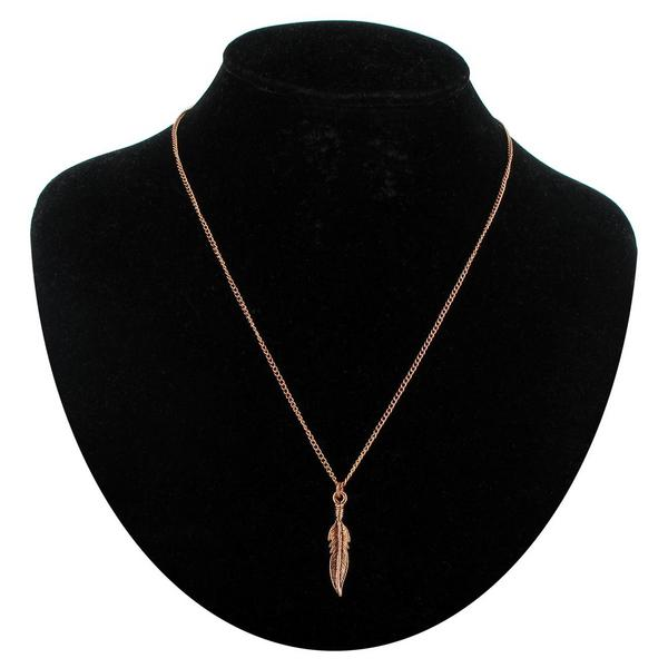 "KY & Co USA Made Rose Gold Tone Feather Nature Sm Pendant 18"" Curb Chain Necklace"