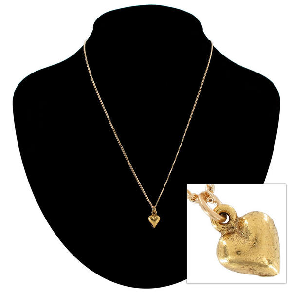 "Ky & Co Gold Tone Tiny Puffy Heart Small Pendant Charm 18"" Curb Chain Necklace"