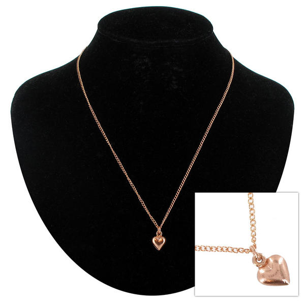 "Ky & Co Rose Gold Tone Small Puffy Heart Charm Pendant Necklace 18"" USA Made"