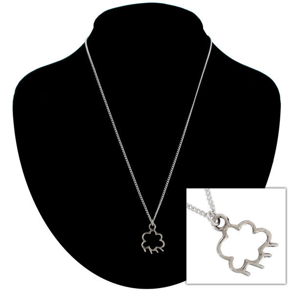 "Ky & Co Silver Tone Rain Cloud Small Pendant Charm 18"" Curb Chain Necklace USA"
