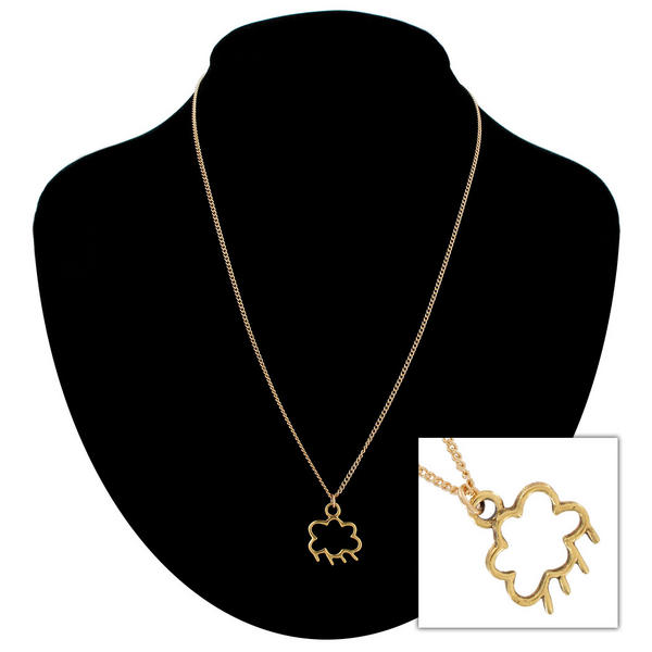 "Ky & Co Gold Tone Rain Cloud Small Pendant Charm 18"" Chain Necklace USA"
