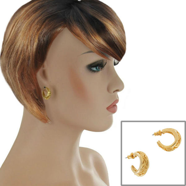 Pierced Earrings Small Huggie Hoop Yellow Gold Tone Textured Leaf