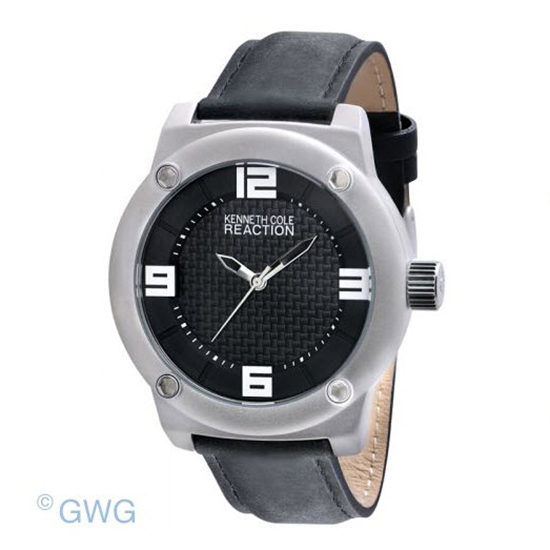 8061907a18c7 Kenneth Cole Reaction RK1312 Black Leather Men s Analog Sport Watch MTO  wrist-watches