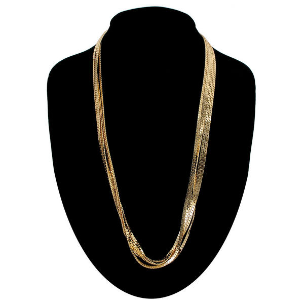 "Ky & Co Five Strand Herringbone Chain Necklace Gold Tone 24"" USA Made"