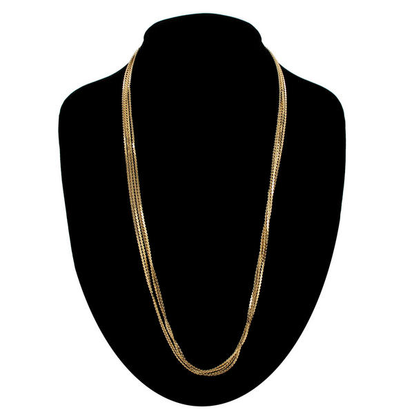 "Ky & Co Five Strand Serpentine Chain Necklace Gold Tone 24"" USA Made"