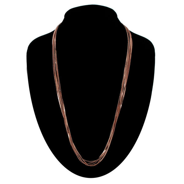 "Ky & Co Five Strand Serpentine Chain Necklace Rose Gold Tone 24"" USA Made"