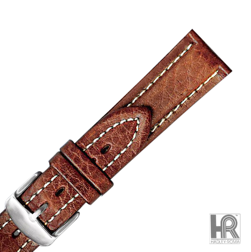 Hadley-Roma MS886 18mm Brown Genuine Leather Contrast Stitched Men's Watch Strap