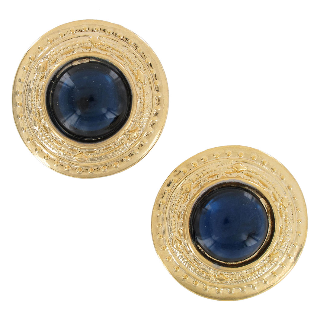 Vintage 1980S Button Gold Tone Dark Blue Big Pierced Earrings USA Made 1 1/4""