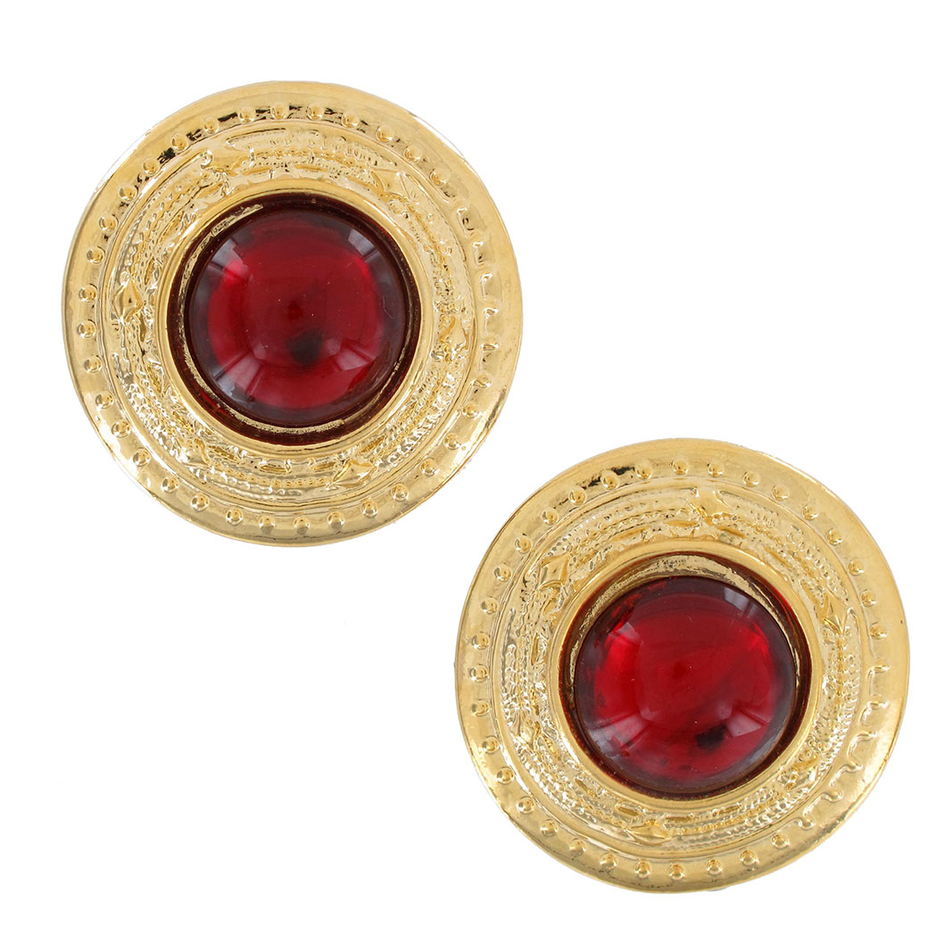 Vintage 1980S Button Gold Tone Red Big Pierced Earrings USA Made