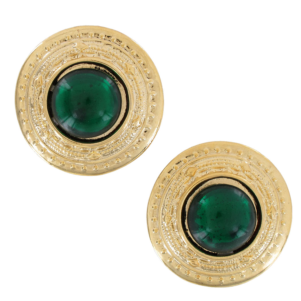 Vintage 1980S Button Gold Tone Green Big Pierced Earrings USA Made 1 1/4""