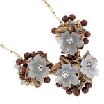 Coldwater Creek Statment Necklace Chocolate Faux Pearl Flower Rhinestone Thumbnail 2